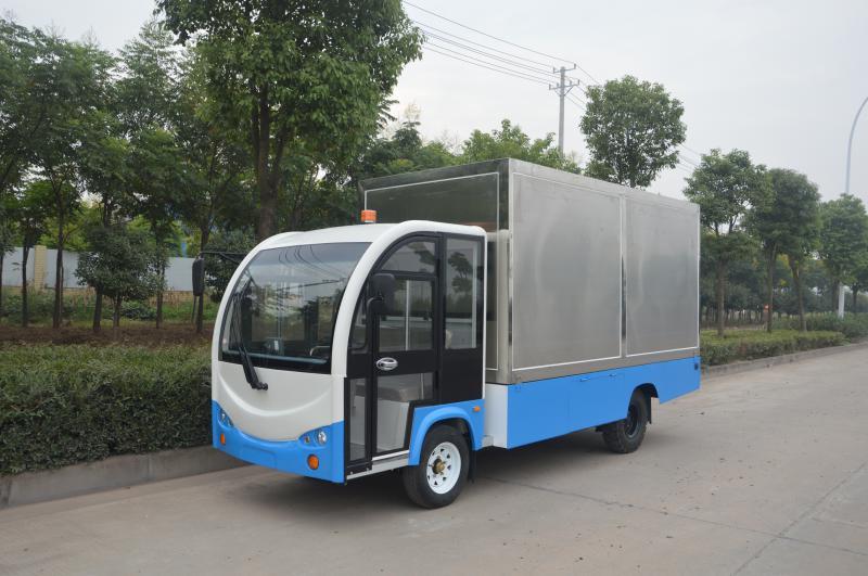 单排座封闭上白下蓝货箱不锈钢货车(3T)